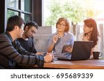 team of man and woman freelance ... | Shutterstock . vector #695689339