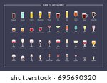 bar glasses types guide  flat... | Shutterstock .eps vector #695690320
