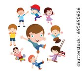variation of pose playing kids... | Shutterstock .eps vector #695690626
