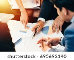 business man working at office... | Shutterstock . vector #695693140