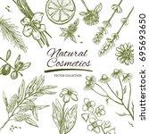 natural cosmetics frame. vector ... | Shutterstock .eps vector #695693650