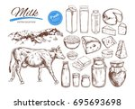 dairy products vector... | Shutterstock .eps vector #695693698