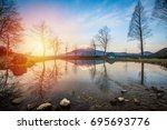mt.fuji in kawaguchiko lake... | Shutterstock . vector #695693776