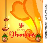 happy dhanteras wallpaper... | Shutterstock .eps vector #695696323