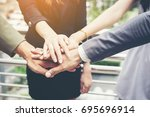 close up of business people... | Shutterstock . vector #695696914
