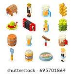 oktoberfest isometric 3d... | Shutterstock .eps vector #695701864