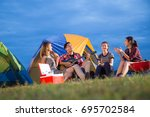 group of friends asian camp... | Shutterstock . vector #695702584