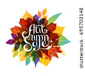 autumn sale banner with... | Shutterstock .eps vector #695703148