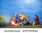 group of friends asian camp... | Shutterstock . vector #695704960