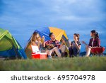 group of friends asian camp... | Shutterstock . vector #695704978