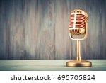retro golden classic microphone ... | Shutterstock . vector #695705824