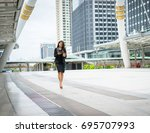 business woman using phone with ... | Shutterstock . vector #695707993