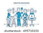 creative discussion concept.... | Shutterstock .eps vector #695710153