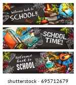 school supplies on chalkboard... | Shutterstock .eps vector #695712679