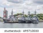 Small photo of YOKOSUKA, JAPAN - MAY 4, 2017: Powerful Japan Maritime Self-Defense Force Aegis guided missile destroyers are moored to a dock at the Yokosuka Naval Port.