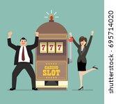 slot machine jackpot with...   Shutterstock .eps vector #695714020