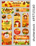 autumn tag set of fall harvest... | Shutterstock .eps vector #695715160