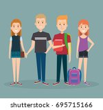 group of happy students with... | Shutterstock .eps vector #695715166