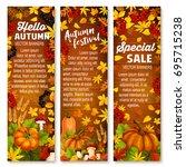 autumn harvest vegetable and...   Shutterstock .eps vector #695715238