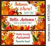 hello autumn banner set of fall ...   Shutterstock .eps vector #695715430