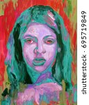colorful painting portrait of... | Shutterstock . vector #695719849