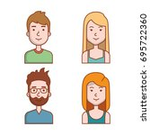 avatars people man and woman... | Shutterstock .eps vector #695722360