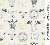 forest animal seamless pattern.... | Shutterstock .eps vector #695724490