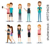 modern society people... | Shutterstock .eps vector #695724628