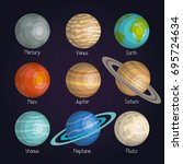 the planets of the solar system ... | Shutterstock .eps vector #695724634