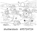 cute troll  dwarfs and fairies. ... | Shutterstock . vector #695724724