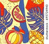 tropical fruits seamless pattern | Shutterstock .eps vector #695724940