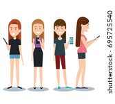 group of different young using... | Shutterstock .eps vector #695725540