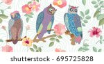 wide panoramic vector patterns... | Shutterstock .eps vector #695725828