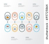 business colorful outline icons ... | Shutterstock .eps vector #695725864