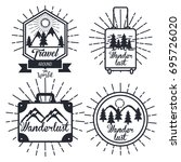 journey label set travel... | Shutterstock .eps vector #695726020