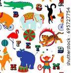 circus cartoon animals.... | Shutterstock . vector #695727754