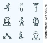 human outline icons set.... | Shutterstock .eps vector #695728078