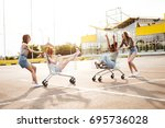 image of young happy women... | Shutterstock . vector #695736028