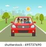 funny afro american family... | Shutterstock .eps vector #695737690