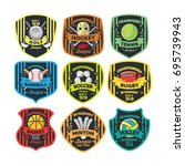 9 sport logo vector emblem | Shutterstock .eps vector #695739943