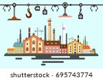 old factory. vector flat design ... | Shutterstock .eps vector #695743774