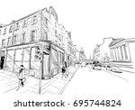 edinburgh. scotland. hand drawn ... | Shutterstock .eps vector #695744824