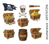 pirate set   treasure chests ... | Shutterstock .eps vector #695747296