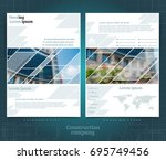 two sided brochure or flayer... | Shutterstock .eps vector #695749456