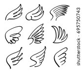 cartoon angel wings vector set. ... | Shutterstock .eps vector #695750743
