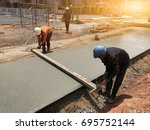 two workers are using steel box ...   Shutterstock . vector #695752144