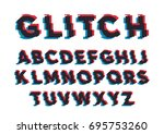 vector distorted glitch font.... | Shutterstock .eps vector #695753260