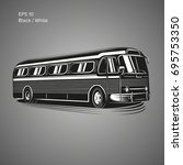 old vintage american bus vector ... | Shutterstock .eps vector #695753350