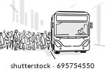 a street  a bus stop  a bus and ... | Shutterstock .eps vector #695754550