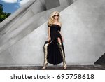 elegant fashion model in a...   Shutterstock . vector #695758618